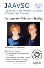 Journal of the American Association of Variable Star Observers (JAAVSO) Vol. 37, Nr. 1, 2009