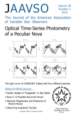 The Journal of The American Association of Variable Star Observers Volume 38 Number 2 2010