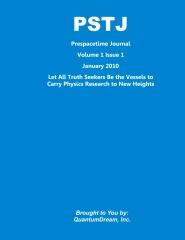 PSTJ Prespacetime Journal Volume   1 Issue 1