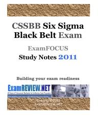 CSSBB Six Sigma Black Belt Exam ExamFOCUS Study Notes 2011