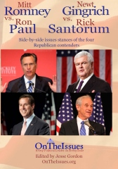 Romney, Gingrich, Paul and Santorum On The Issues