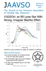 The Journal of the American Association of Variable Star Observers Volume 41 Number 1 2013