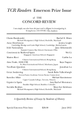 TCR Readers: Emerson Prize Issue 1