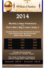 2014 Monthly Lottery Predictions for Pick 3 Win 3 Big 3 Cash 3 Daily 3