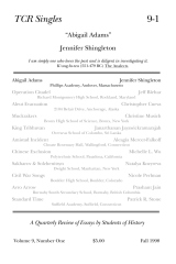 TCR Singles 9-1 Abigail Adams